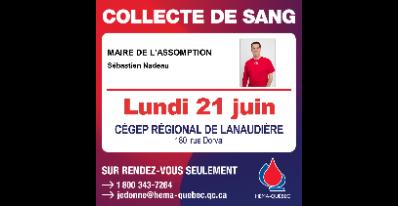 Collecte de sang du maire de L'Assomption